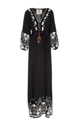 Medium figue black embroidered lola maxi dress