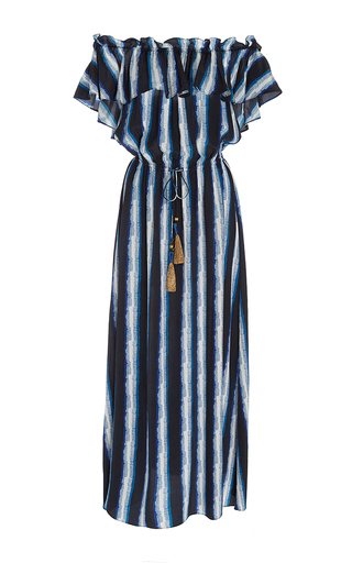 Medium figue stripe off the shoulder stripe maya dress