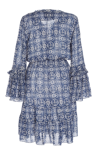 Printed Lace Up Poet Dress by FIGUE for Preorder on Moda Operandi