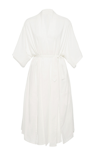 Medium hensely white kimono slit dress