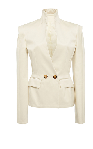 Medium hensely ivory laser shoulder blazer