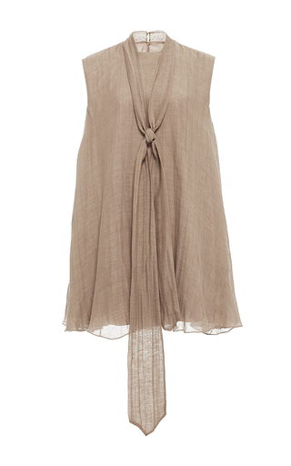 Medium hensely tan micro front tie dress