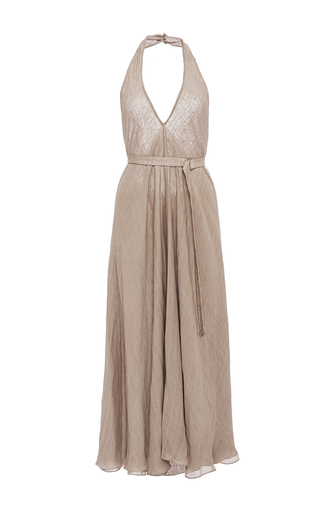 Medium hensely tan belted halter dress