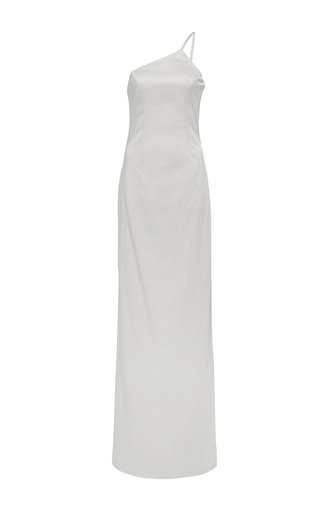 Medium hensely light grey one shoulder column gown