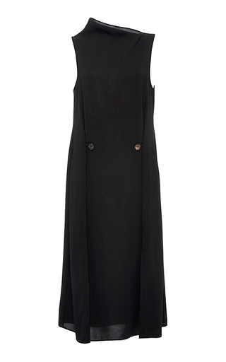 Medium hensely black two button pleat dress