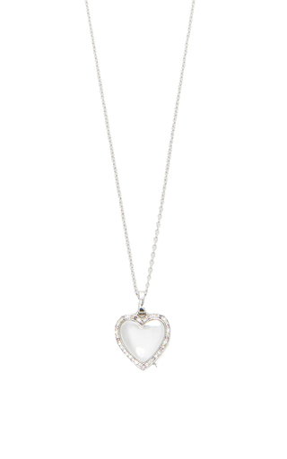 """White Gold Diamond And Coloured Sapphire Locket On A White Gold 32"""" Chain by LOQUET LONDON for Preorder on Moda Operandi"""