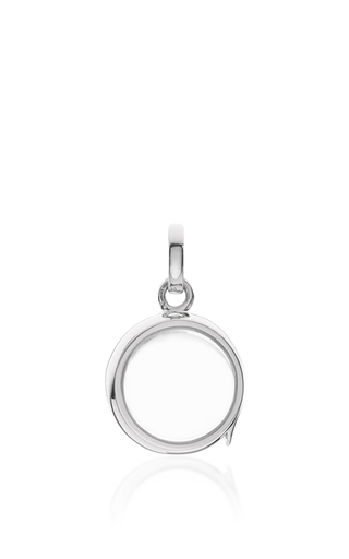 Medium loquet london silver white gold small round locket on a 18 white gold chain