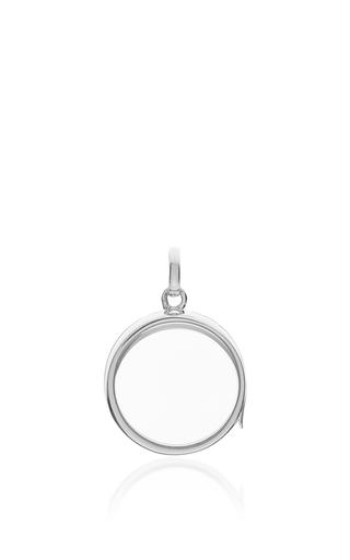 "White Gold Medium Round Locket On A 32"" White Gold Chain by LOQUET LONDON for Preorder on Moda Operandi"