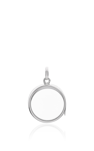 Medium loquet london silver white gold medium round locket on a 32 white gold chain