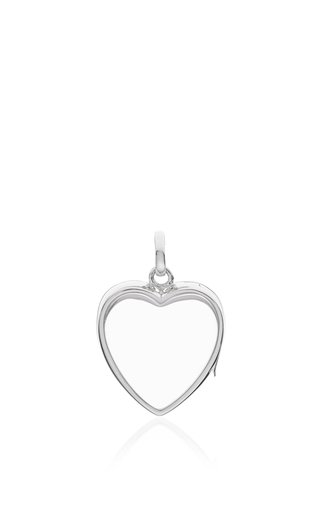 "White Gold Medium Heart Locket On A 18"" White Gold Chain by LOQUET LONDON for Preorder on Moda Operandi"