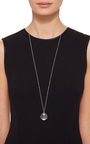 """White Gold Large Round Locket On A 32"""" White Gold Chain by LOQUET LONDON for Preorder on Moda Operandi"""