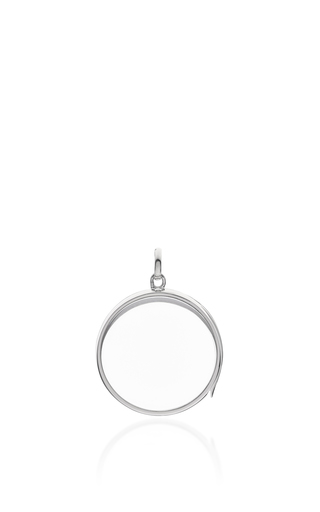 Medium loquet london silver white gold large round locket on a 32 white gold chain