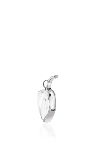 "White Gold Large Heart Locket On A 32"" White Gold Chain by LOQUET LONDON for Preorder on Moda Operandi"