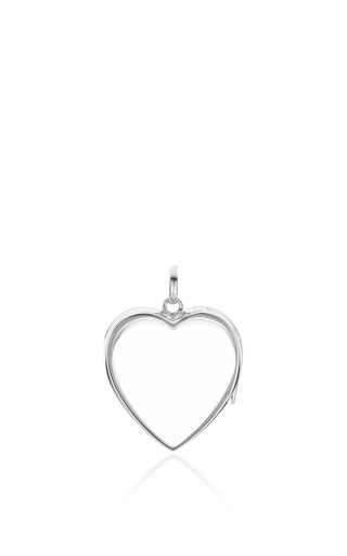 Medium loquet london silver white gold large heart locket on a 32 white gold chain
