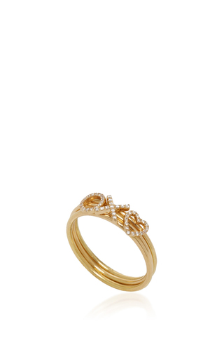 18 K Puzzle Ring Love by LOQUET LONDON for Preorder on Moda Operandi