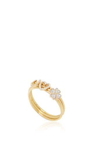 18 K Puzzle Ring Love And Luck by LOQUET LONDON for Preorder on Moda Operandi