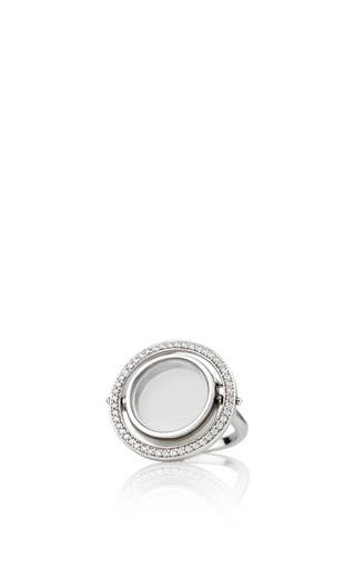 Medium loquet london silver 18k diamond revolving white gold ring
