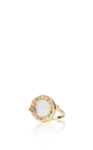 Medium loquet london gold 18k diamond and coloured sapphire ring in yellow gold