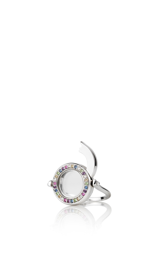 18 K Diamond And Coloured Sapphire Ring In White Gold by LOQUET LONDON for Preorder on Moda Operandi