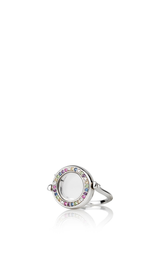 Medium loquet london silver 18k diamond and coloured sapphire ring in white gold