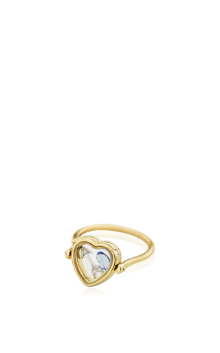 14 K Yellow Gold 12 Mm Heart Locket Ring by LOQUET LONDON for Preorder on Moda Operandi