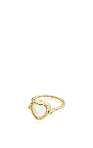 Medium loquet london gold 14k yellow gold 12mm heart locket ring