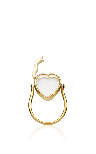 14 K Yellow Gold 15 Mm Heart Locket Ring by LOQUET LONDON for Preorder on Moda Operandi