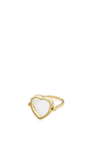 Medium loquet london gold 14k yellow gold 15mm heart locket ring