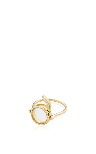 14 K Yellow Gold 12 Mm Round Locket Ring by LOQUET LONDON for Preorder on Moda Operandi