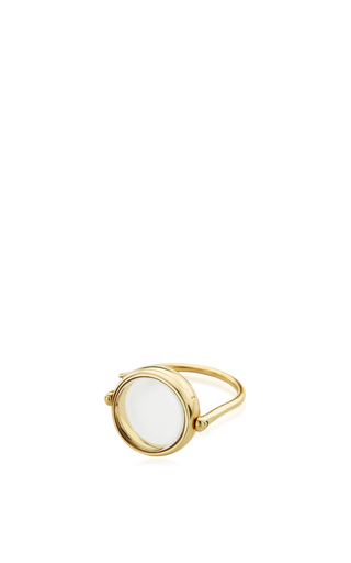 14 K Yellow Gold 15 Mm Round Locket Ring by LOQUET LONDON for Preorder on Moda Operandi