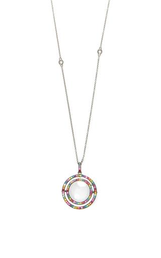Medium loquet london black 18k double diamond and rainbow sapphire revolving locket on an 18k 32 diamond chain