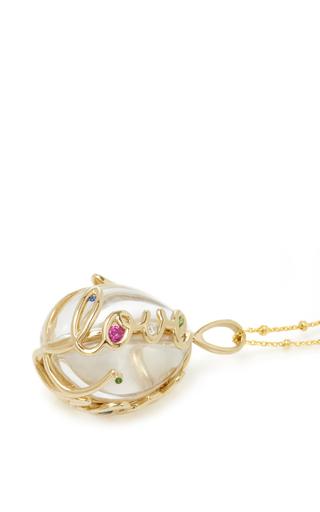 "Rainbow Sapphire Egg Locket On 32"" Sphere Chain by LOQUET LONDON for Preorder on Moda Operandi"
