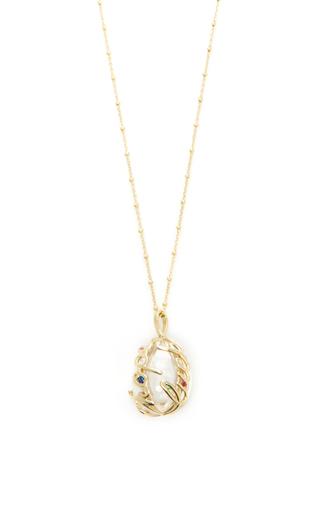 Medium loquet london gold rainbow sapphire egg locket on 32 sphere chain