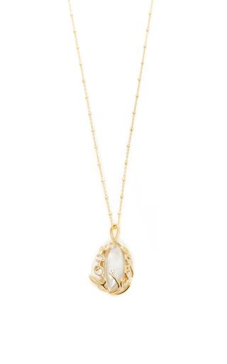 Medium loquet london gold diamond egg locket on 32 sphere chain