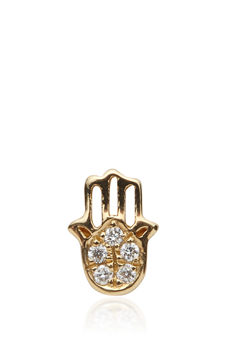 Medium loquet london gold gold and diamond hand charm