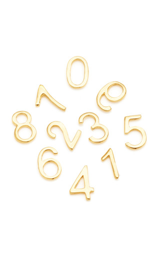 Medium loquet london gold 18k gold number charm