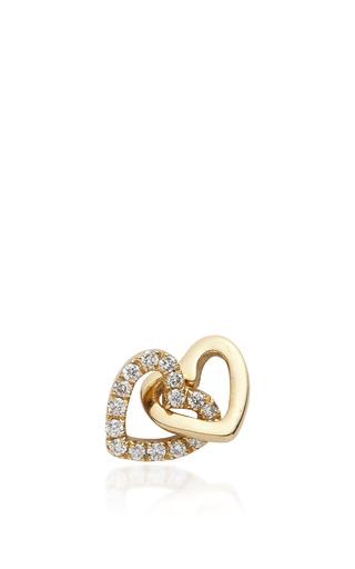 Medium loquet london gold gold and diamond linked hearts charm