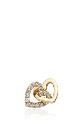 Medium loquet london gold gold and diamond linked hearts charm