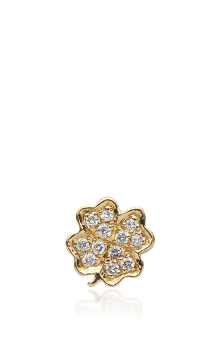 Medium loquet london gold gold and diamond four leaf clover charm