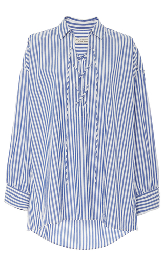 Medium nili lotan stripe shiloh lace up striped top