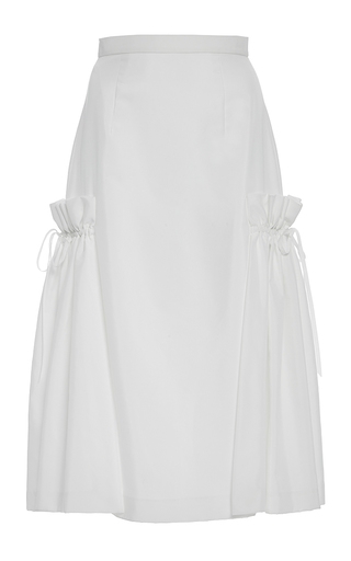 Medium adeam white a line side flounce skirt