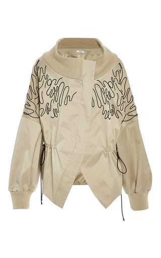Medium adeam tan embroidered drop shoulder bomber jacket