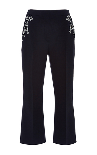 Embroidered Flare Capri Pant by ADEAM for Preorder on Moda Operandi