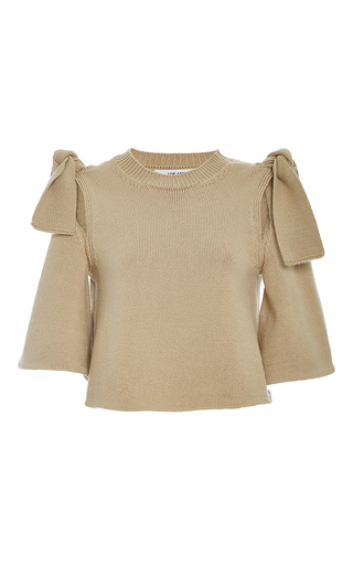 Medium adeam tan tied shoulder top