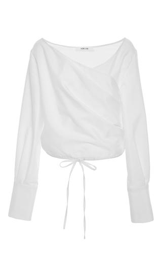 Medium adeam white v neck wrap blouse
