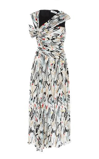 Medium adeam print combo print open shoulder dress