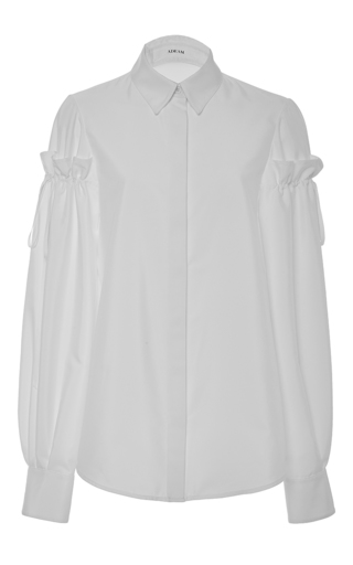 Medium adeam white gathered sleeve button up top