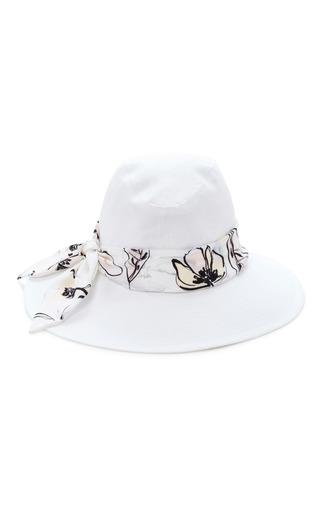 Medium eugenia kim white jordana silk trimmed linen hat