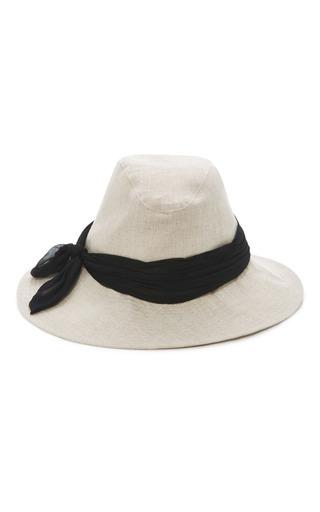 Medium eugenia kim tan silk trimmed linen hat 2