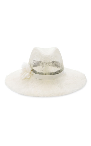 Medium eugenia kim ivory emanuelle floral appliqued woven sunhat